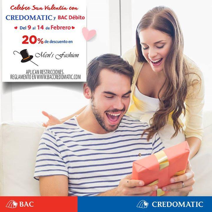Celebre San Valentin con Credomatic y BAC Débito del 9 al 14 de Febrero 20% de descuento.