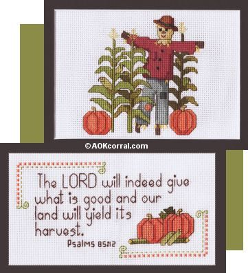 Harvest Scripture with Pumpkins cross stitch pattern ~ free (not the scarecrow one)