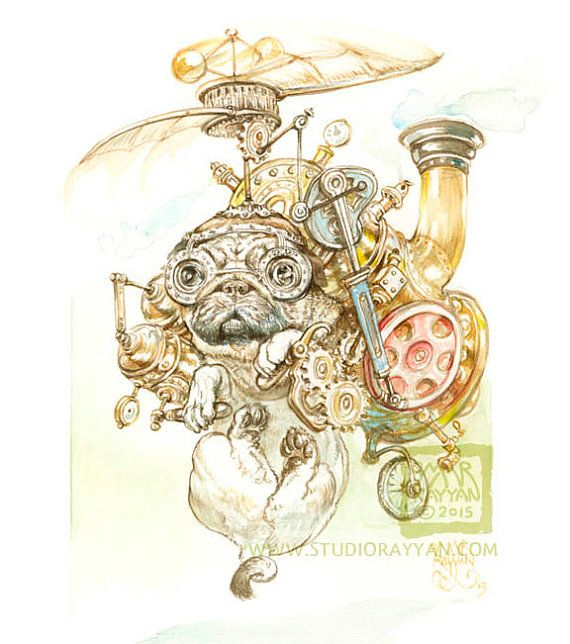 Steampug print steampunk pug dog humor by StudioRayyan on Etsy