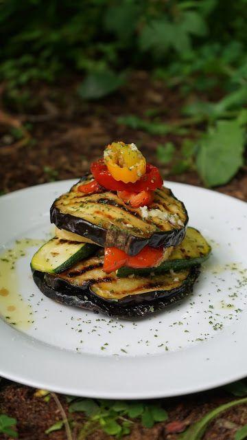Grilled eggplant, zucchini, portobello and tofu with lemon-garlic dressing