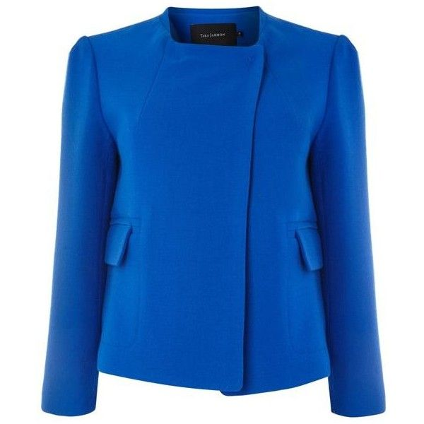 Tara Jarmon Cropped Round Neck Wool Jacket ❤ liked on Polyvore featuring outerwear, jackets, wool jacket, cropped jacket, blue jackets, woolen jacket and blue wool jacket