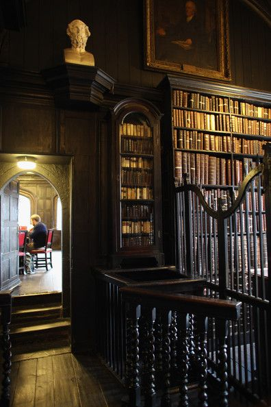 Rare and antique books line the shelves at Chetham Library, which was founded in 1653, making it the oldest public library in the English speaking world in Manchester, England.