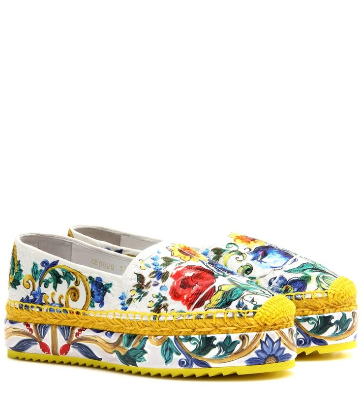 Dolce & Gabbana - Wedge fabric espadrilles - Summer's essential shoe, the espadrille, gets a dose of signature Dolce & Gabbana flair. A majolica pottery-inspired printed upper is elevated by a wedge sole with a matching paint-inspired finish. Add them to skinny denim for a playful final note. seen @ www.mytheresa.com