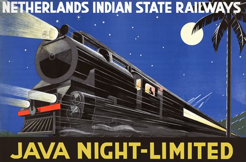 Java Night-Limited. Circa 1930s travel poster for Java, Dutch East Indies.