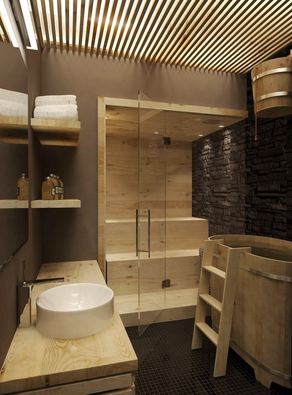Scandinavian design is present on the second floor, like this unique bathroom scheme.
