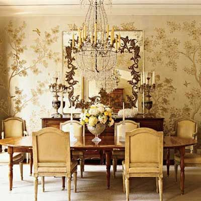 This Luminous Gold Gracie Paper Is The Crowning Touch To A Stunning Understated Dining Room By