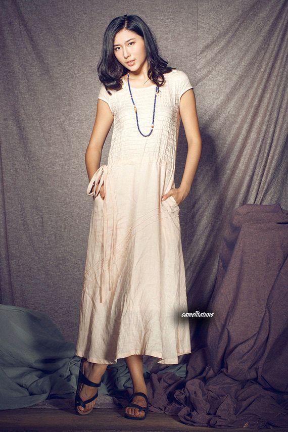 Long Linen Dress / Pleated cocktail dress / formal dress - custom made. $78.00, via Etsy.
