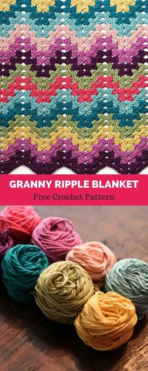 Granny Ripple Blanket Free Crochet Pattern Crochet Pinterest