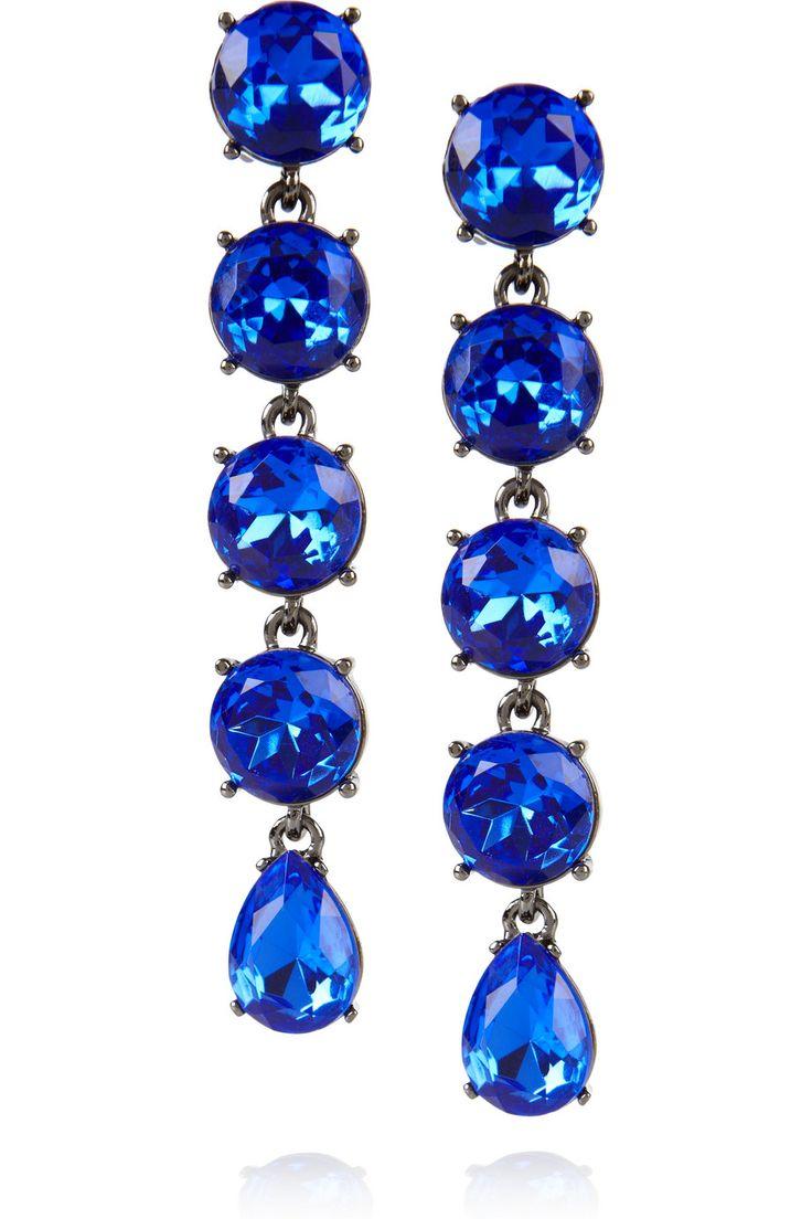 Oscar de la Renta-Gunmetal-tone drop clip earrings.