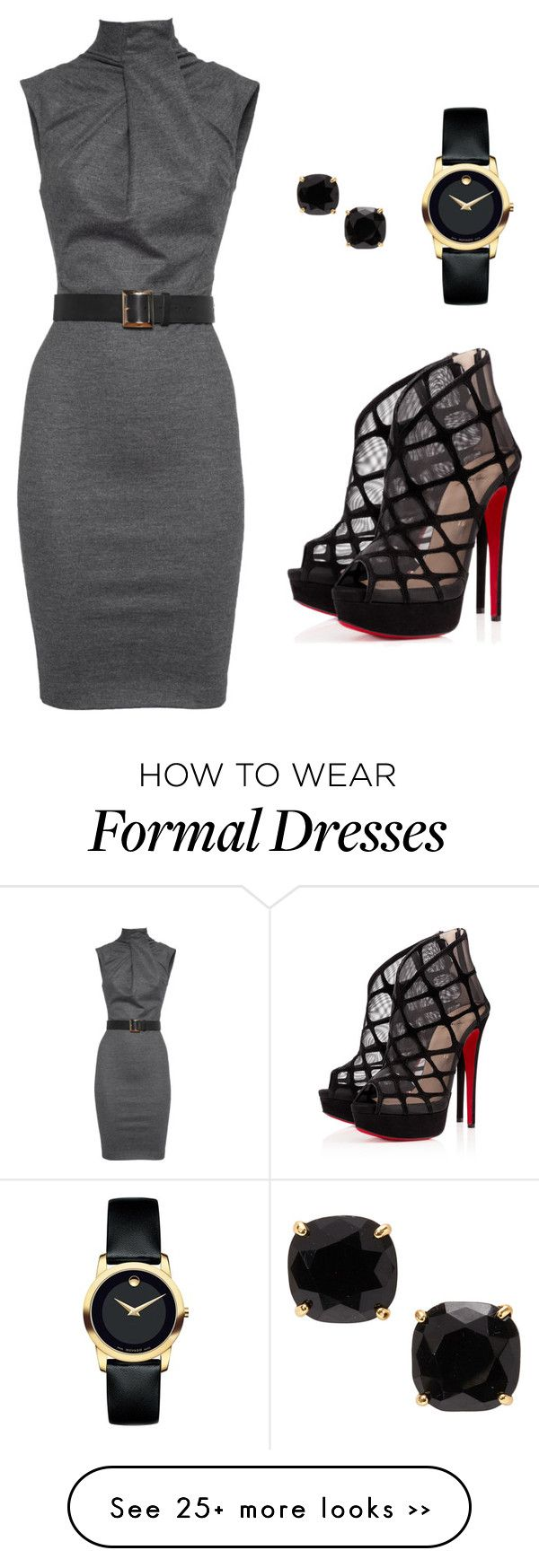 """Semi formal outfit"" by priyanka-cholleti on Polyvore featuring Dsquared2, Christian Louboutin, Movado and Kate Spade"