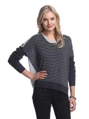 58% OFF Qi Cashmere Women's Nichole Striped Cashmere Sweater (Charcoal Heather Combo)
