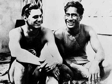 1924 Paris Olympics Duke Kahanamoku & Johnny Weissmuller