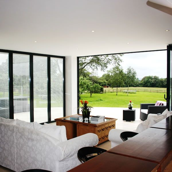 Sunflex SF55 aluminium bi-folding doors installed by YES Glazing Solutions. To find out more about our bifolding doors visit - http://sunflexuk.co.uk/bifold-doors/aluminium-sf55-sf75/
