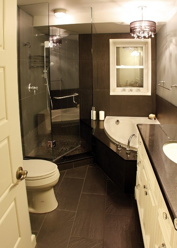 a small bath, shower,vanity n seat all in the small space like mine. who has bedroom size bathrooms anyway..GREAT!!