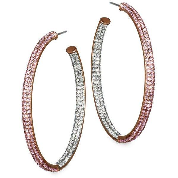 b2f5ac944c377 Adriana Orsini Two-Tone Swarovski Crystal Hoop Earrings/1.5'' ($150 ...