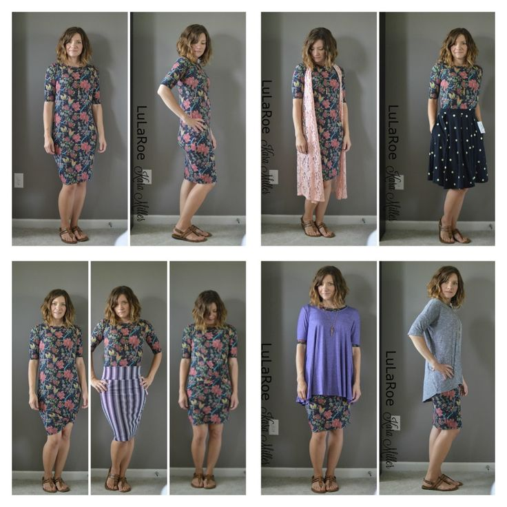 One LuLaRoe Julia dress, endless outfits.  With Joy Lace duster vest, with Madison skirt, knotted, with Cassie skirt, with hair tie trick, with Perfect tee and Irma tunic! Shop here: https://www.facebook.com/groups/Lularoekateandlea