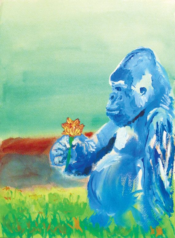 Blue Gorilla  Artist Print Signed By Christian by StrangeNature