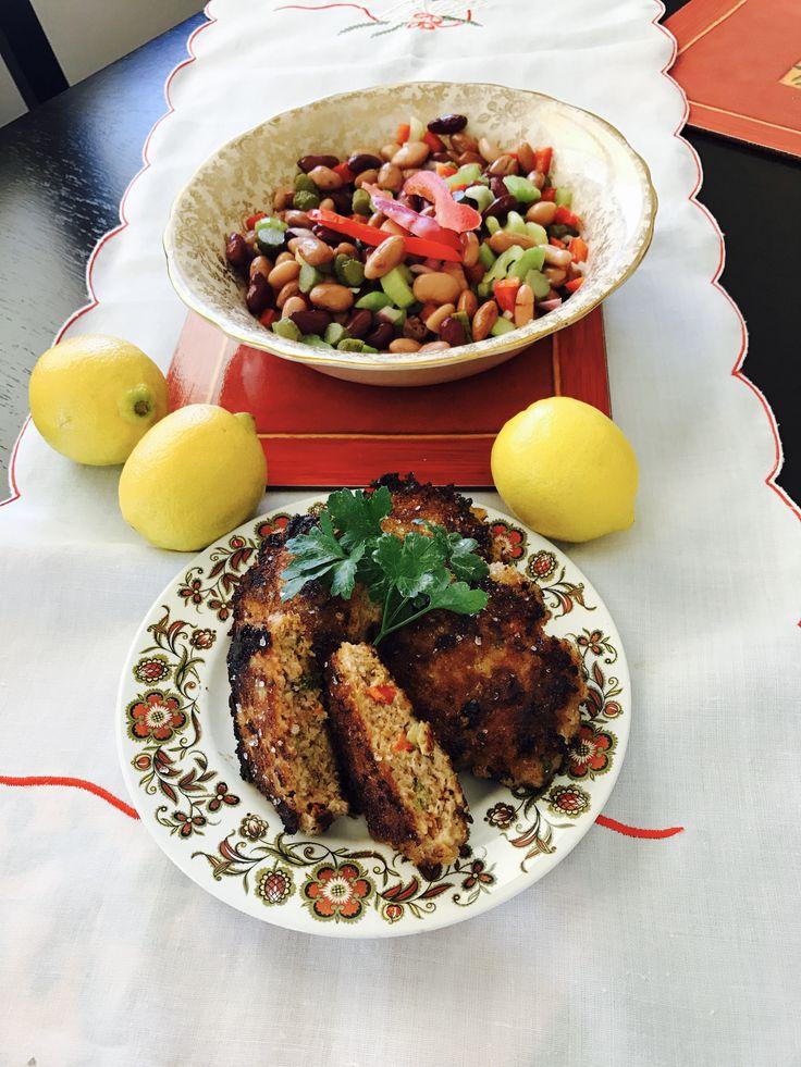 Free range pork patties with bean salad
