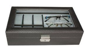 "6 Piece Watch Box and 3 Piece Eyeglasses Storage Pewter Colored Carbon Fiber Combo Jewelry Box and Sunglass Glasses Display Case Organizer Collector TimelyBuys. $54.99. Two support tabs in each glasses compartment hold glasses in place; Handsome accessory for your nightstand, desk, or dresser. Case measures approximately 8"" L x 13.25"" W x 3.5"" H. Detailed stitching and attractive faux suede lining add a luxury feel. Combo case tastefully protects, stores, and organizes up to..."