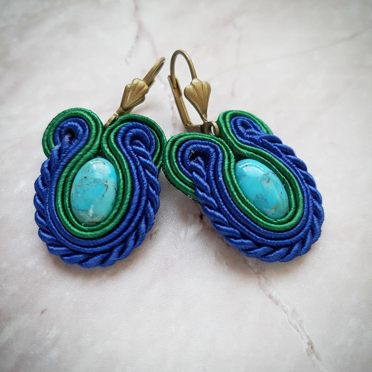 Soutache earrings with turquoise by AnnaZukowska on Etsy