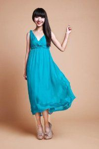 Womens Hot Summer Sleeveless V-neck Braces Maxi Long Beach Evening Party Dress (Size L, M, S. Color Blue, Green, Orange, Red, White, Yellow)