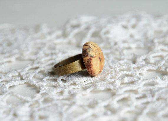 Natural wooden cabochon ring wood handmade gifts by MyPieceOfWood