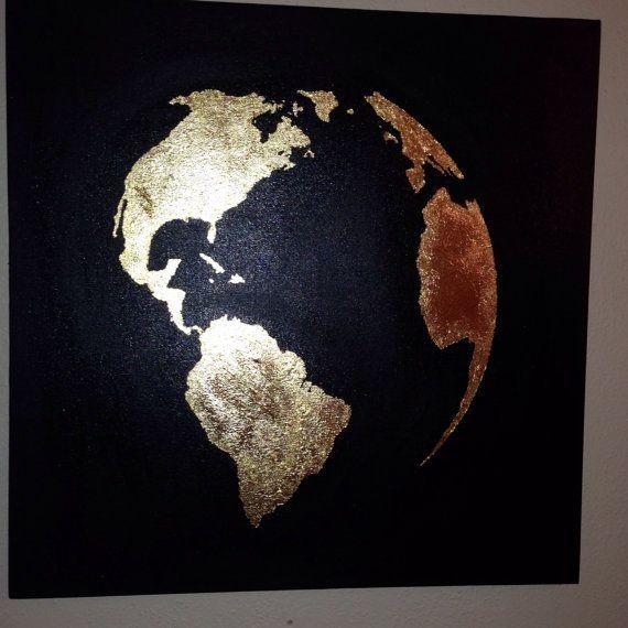 Blattgold-Malerei-Karte der Welt Gold Blatt Weltkarte Globus Blattgold
