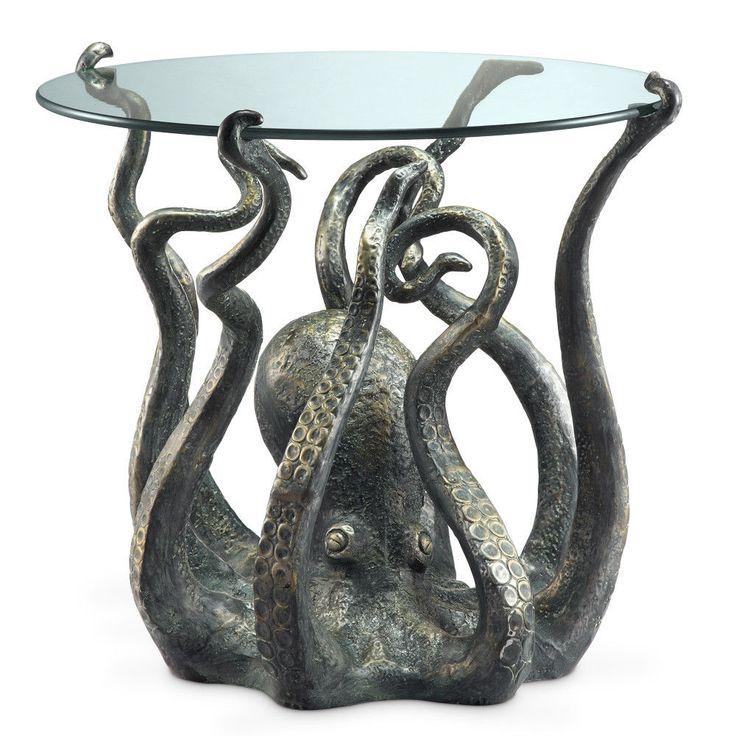 "22.5"" Aluminum Undersea Kraken Octopus Decorative Glass Top End Side Table #Nautical"