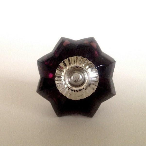 Indulge in rich aubergine glass knobs. Eye-catching deep purple drawer pulls. Three versatile hardware finishes. A designer's favorite. Use in any room.