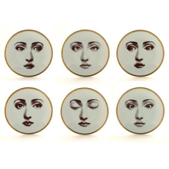 Set van 6 platen porselein Vintage gewijzigd oog vrouw gezicht wit bruin romantisch grillige