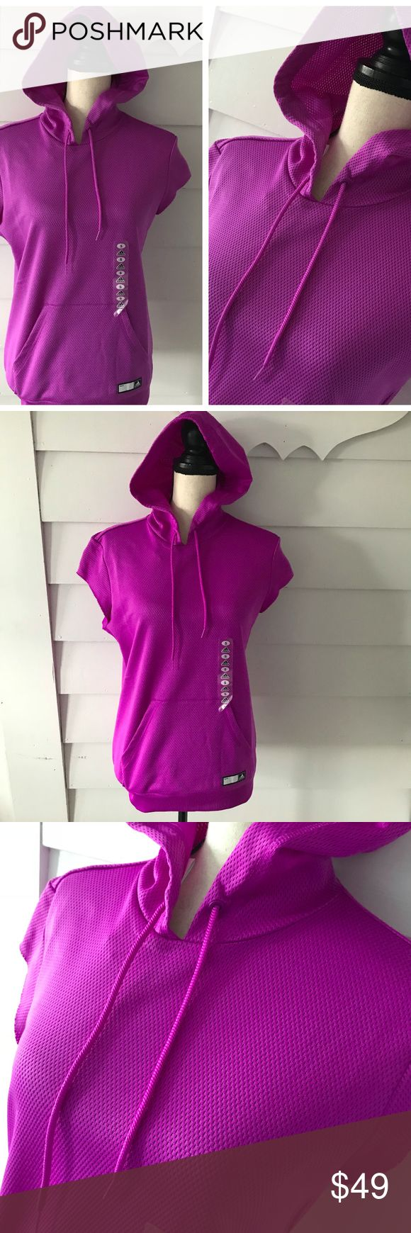 "NEW Adidas HOODIE Small PURPLE Mesh Pullover Tank Adidas Hoodie Bright Purple Pullover Hoodie  Mesh, Pouch Front Pocket  Womens Size Small, New w/ Tags  Cutoff Sleeves Sleeveless Style  Chest: 38"" Length: 25"" Adidas Tops Sweatshirts & Hoodies"