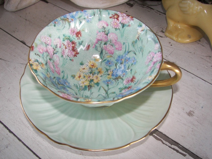 Vintage Shelley Tea Cup and Saucer Melody in the Oleander Shape, On Sale. $150.00, via Etsy.