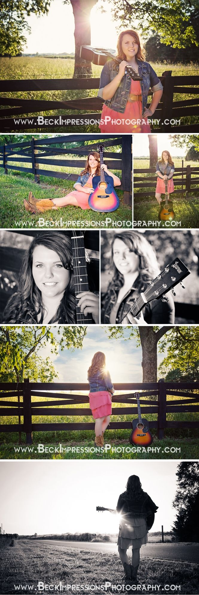 Country Girl Senior Portraits #Guitar #SunFlare  www.BeckImpressionsPhotography.com