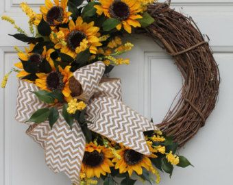 Sunflower Chevron Burlap Summer Fall Wreath