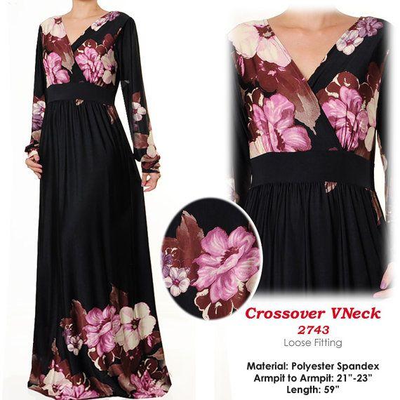 2743 Crossover VNeck Floral Jersey Islamic Abaya by MissMode21, $34.00