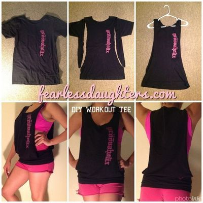 DIY WORKOUT TEE By #Fearlessdm Blogger Maggie Barnes. Cute & Easy. Recycle old shirts. T-Shirt Cutting. Follow Maggie on Pinterest at