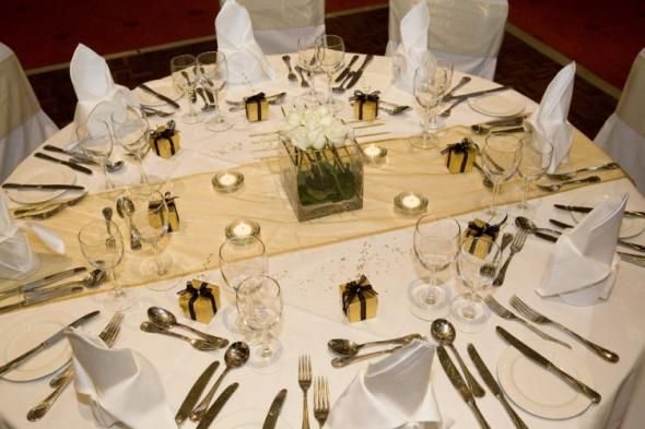 A nice simple SHEER gold table runner.
