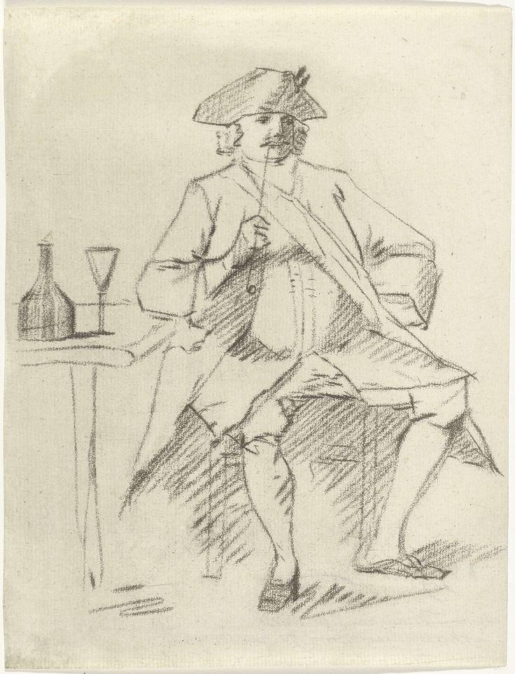 Cornelis van Noorde | Man met een pijp zittend bij een tafel, Cornelis van Noorde, Cornelis Troost, 1765 | Een man rookt een pijp zittend op een stoel naast een tafel. Op tafel staan een fles en een glas.
