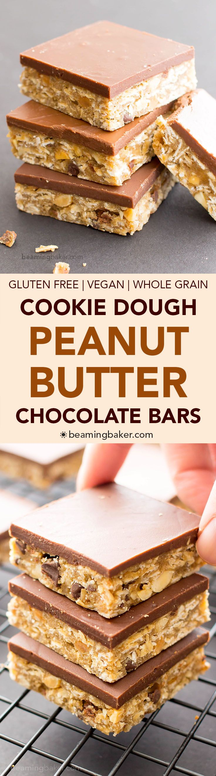 No Bake Chocolate Peanut Butter Oatmeal Cookie Dough Bars (V, GF, DF): an easy recipe for decadent peanut butter cookie dough bars topped with a thick layer of chocolate and bursting with oats. #Vegan (Gluten Free Recipes)