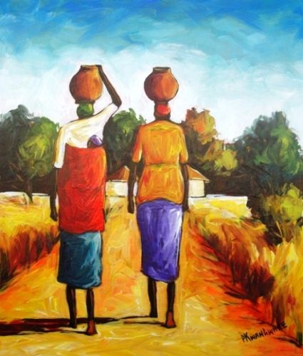 Acrylic Painting - Fetching Water by Peter Kwangware