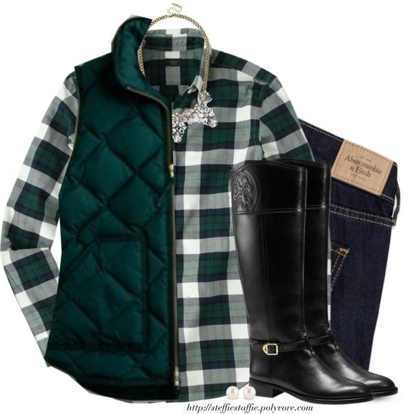 A fashion look from December 2014 featuring J.Crew vests, Abercrombie & Fitch jeans and Tory Burch boots. Browse and shop related looks.