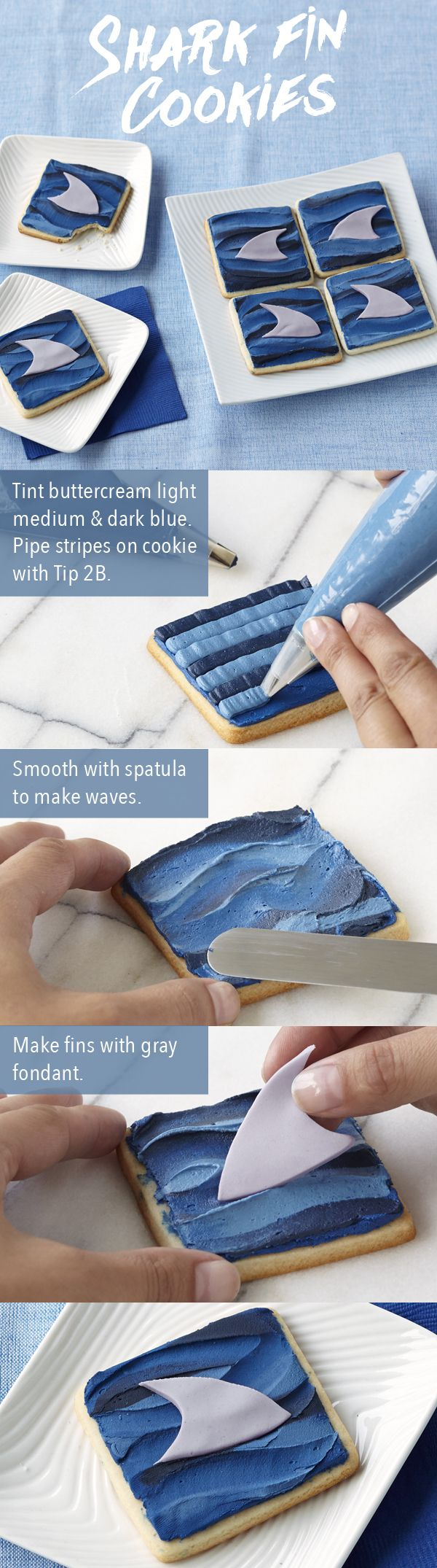These fun fins will make waves at your shark party! Just cut the cookies with the Square Double Cut-Outs Set. Create the water waves with lines of blue icing and add the fondant fin on top.  These Shark Fin Cookies are perfect for shark week or any week of the year!