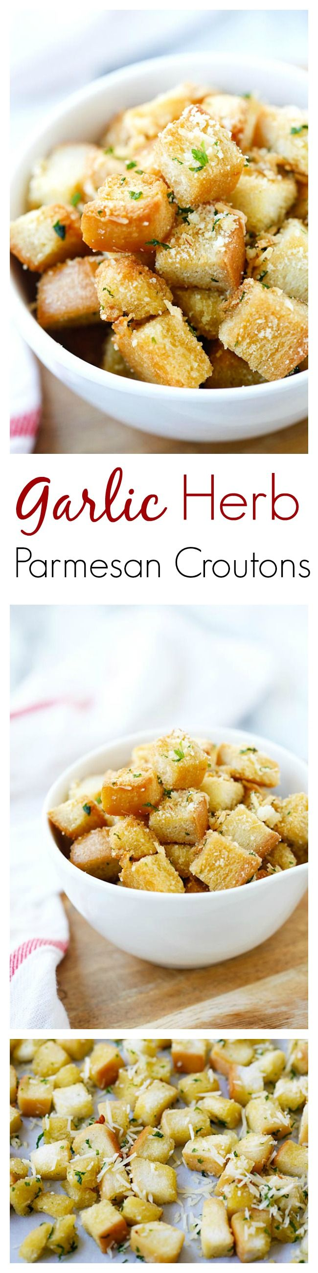 Garlic Herb Parmesan Croutons – amazing and super crispy croutons at home with this easy recipe that takes only 25 mins from prep to dinner table ✿⊱╮