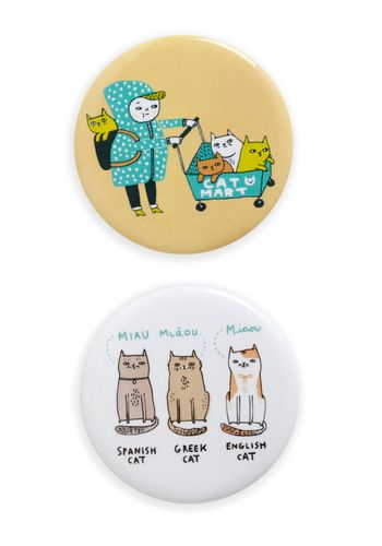 These are adorable. Kitties!: Crazy Cats, Opposites Cat Tract, Cat Tract Magnets, Magnets Sets, Cat Buttons, Kitty Magnets, Cat Magnets, Gemma Correll, Crazy Cat Lady