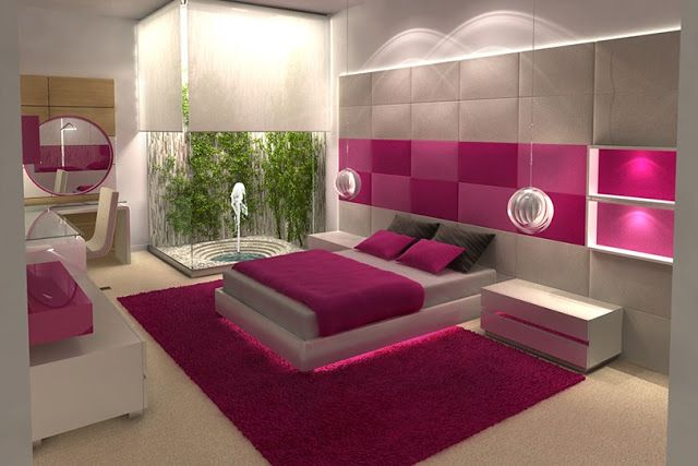 DORMITORIO JUVENIL FUCSIA Y BLANCO de KARIM CHAMAN dormitorios.blogspot.com
