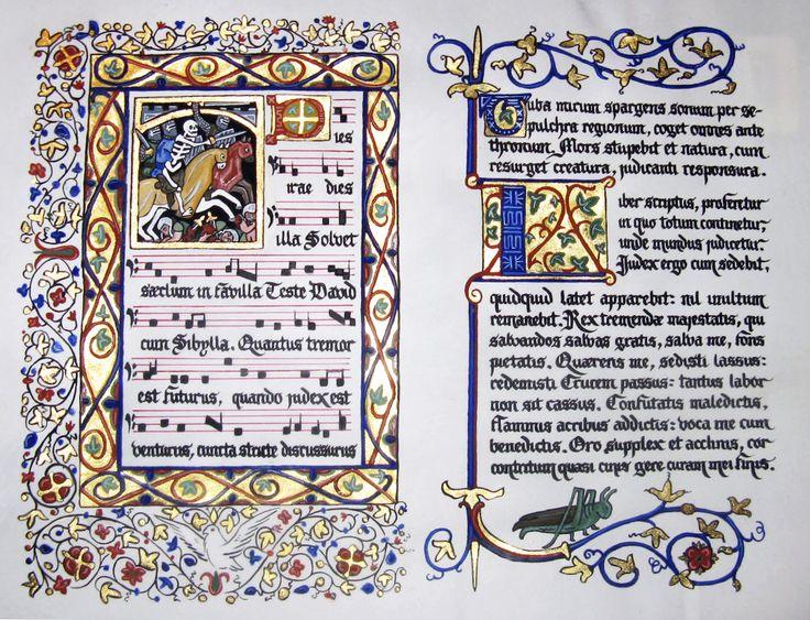 10X14. Calfskin parchment. Handmade pigments in binder made of gum arabic, honey and distilled water. Aurum Gold Leaf (23.5 kt); Shell gold ...