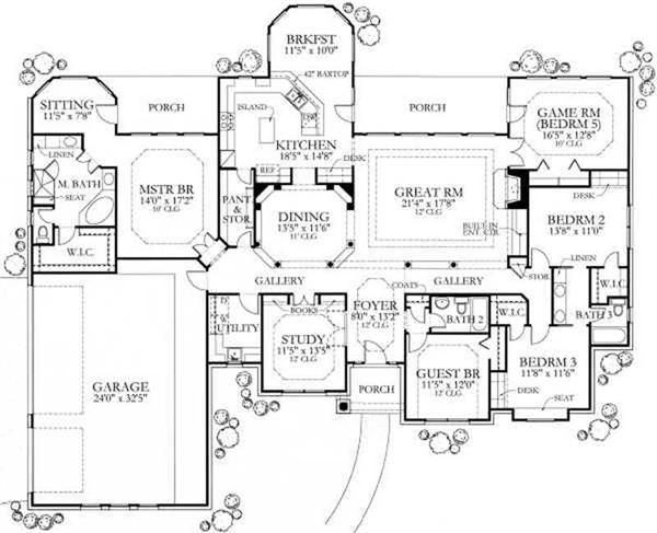 5 bedroom ranch with master on opposite side of house from rest of the  bedrooms  Love this layout but would want a game room and extra bedroom up  stairs. 123 best House plans images on Pinterest   House floor plans