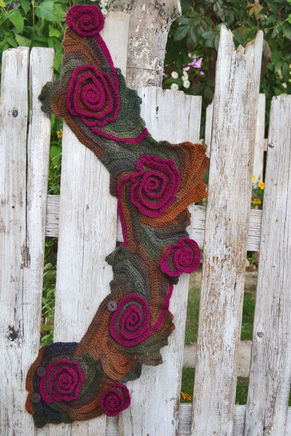 Crochet Scarf CapeletSchadows BrownPurpl Roses by Degra2 on Etsy