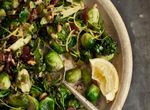 Crispy Brussels sprouts with Broccolini, Bacon and Pine Nuts