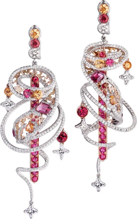 Louis VuittonThe Spirit of TravelShangai Earrings; Earrings in white and red gold, Louis Vuitton diamonds, diamonds, spinels and spessartits.